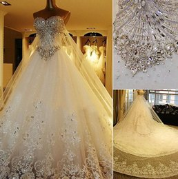 Wholesale Wedding Cathedral Veils Crystals - Luxury Crystal Wedding Dresses Lace Cathedral Lace-up Back Bridal Gowns 2015 A-Line Sweetheart Appliques Beaded Garden Free Sets Free Veil