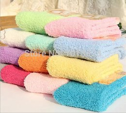 Wholesale Warm Slippers For Women - Wholesale-Soft women cheap Fuzzy Socks Warm thick Slipper Cozy Socks Korean socks 9-11 for winter indoor bed sock 6 pairs lot