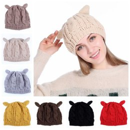 Wholesale Devil Horns Hats - Women Winter Beanie Devil Horns Cat Ear Crochet Braided Knit Ski Cap Hat 9 Colors 100pcs LJJO3476