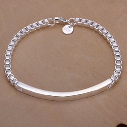 Wholesale New 925 Silver Box Chains - Hot sale best gift 925 silver Intermediate card box bracelet - Men DFMCH079, brand new fashion 925 sterling silver Chain link bracelets