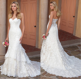 Wholesale Vintage Strapless Trumpet Gown Ivory - 2018 New Design Sweetheart Tiered Skirt Wedding Dresses Mermaid Bridal Gowns Strapless Lace Appliqued Vintage Wedding Gowns Bride Dress