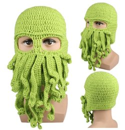 Wholesale Knitted Hats Kids For Summer - Novelty Handmade Knitting Wool Funny Beard Octopus Hats Caps Crochet Knight Beanies Ski Mask Squid hat For kids and Unisex