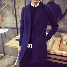 Wholesale Double Breasted Wool Cape Coat - Wholesale- Cape For Men Long Coats Denim Jacket Snow Jackets Slim Double Breasted Suit Mens Trench Winter Coat Sapphire Wool Yellow Man F20