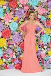Wholesale Coral Bridesmaid Dresses China - Cheap China Coral Bridesmaid Dresses 2016 Spring Floor Length Chiffon Backless Sleeveless Ruched Prom Dresses