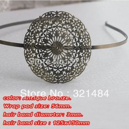 Wholesale Wholesale Metal Headband Blanks - Antique brass bronze metal hairband hair band headband findings accessories with 56mm wrap pad cabochon setting blank