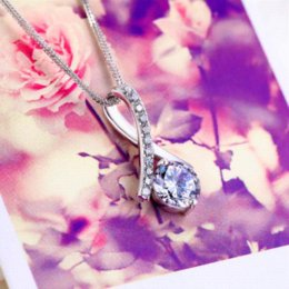 Wholesale Cheap Simulated Diamond Jewelry - Cheap Jewelry Free Shipping Collier Women Fashion Pingente 2015 Simulated Diamond Charms Necklace Pendant 925 Sliver Gift N318