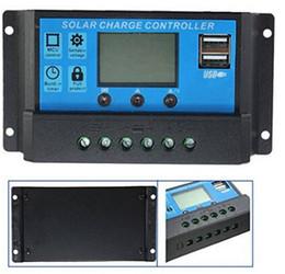 Wholesale Solar Charging Regulator 12v - 10A 20A LCD Dual USB Port Intelligent Solar Charge Regulator Controller 12V 24V Output 5V Mobile Charger (10A)