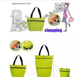 Wholesale Fabric Grocery Bags - Portable folding roller shopping bag trolley tug hand reusable storage Shopping Bag On Wheels Rolling Grocery Tote Handbag 7 color