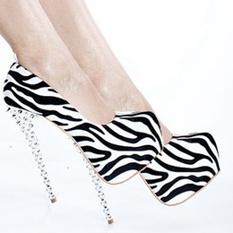 Wholesale Platform Dress Shoes For Women - Zebra Dress Shoes Thin High Heels With Exaggerated Rivet Platforms Shoes Women 16cm High Stiletto Heel Pumps Ladies Shoes For Women Pumps