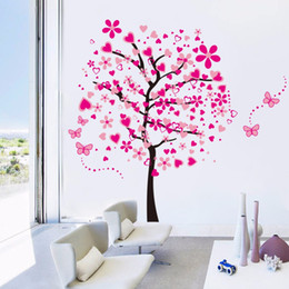 Wholesale Backdrop Vinyl Pink - 2016 Super Large Size DIY Pink Tree Wall Sticker For Kids Room Bedroom Living Rooms Backdrop Decor Removable PVC Wall Stickers