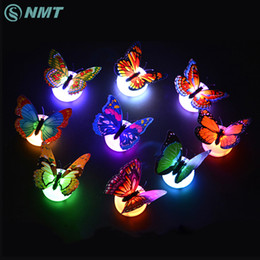 Wholesale Wall Led Sticker Light - Wholesale- Colorful Butterfly LED Night Light Decoration Night Lamp Wall Sticker for Christmas Wedding Home Indoor Lighting