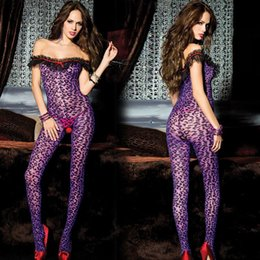 Wholesale Sexy Underwear Lingerie Leopard Costume - w1023 Purple sexy lingerie leopard Siamese body stockings Sexy lace stockings open file appeal women hot sexy costumes Teddy underwear
