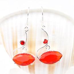 Wholesale Unique Sapphires - Free Shipping Unique Fire Red Quartz Gemstone Women Silver Drop Earrings E0051