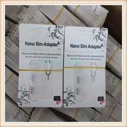 Wholesale Iphone4 Mobile - Good quality noosy adapter with eject pin 4in1 NOOSY Nano & Micro & Standard Sim Card Convertion Converter for iphone4 5 6 all mobile phone