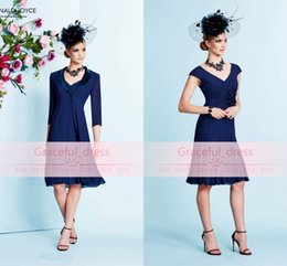 Wholesale Ronald Joyce V Neck Dress - 2016 New Blue Mother Of Bride Groom Dress Sexy V Neck Cap Sleeve Backless Beads With Jacket Chiffon Ronald Joyce Short Evening Suit 991025