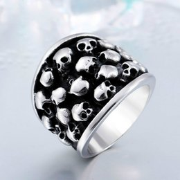 Wholesale Skull Color Ring - Rock Roll Punk Unique Heavy Gothic Black Silver Color Horror Skulls Stainless Steel Mens Ring US Size