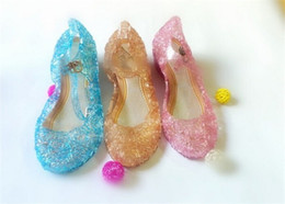 Wholesale Lolita Wedges Shoes - NEW Girl Queen Elsa Princess Sandals Anime Cosplay Shoes Fashion Lolita Sweet Children's Shoes Wedge Cheap Hollow Crystal Shoes D016