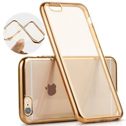 Wholesale Iphone Gold Plating Case - Ultra thin Electroplating Case Plating Soft Clear TPU Cover For iPhone X 8 7 6 6S Plus 5 5S SE Defender Phone Cases