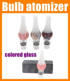 Wholesale Colored Atomizers - Glass Globe Wax Vaporizer new design colored globe tank dry herb atomizer rebuildable clearomizer bulb dome e cig VS M6 atomizer dhl AT125
