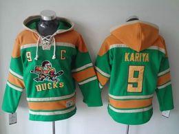 Wholesale Paul Hoodies - Top Quality ! Mighty Ducks Old Time Hockey Jerseys #9 Paul Kariya Anaheim Ducks Hoodie Pullover Sports Sweatshirts Winter Jacket