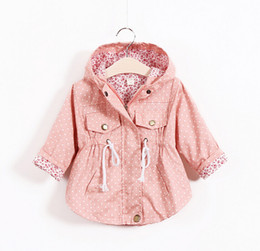Wholesale Korean Girl Jackets - Free Shipping Autumn Jackets For girls New 2015 Korean version Brand Fashion Polka Dot Bat shirt Coat 5pcs lot Children Hoodies