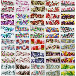 Wholesale Nail Art Sheets - 50 Sheets Random Flower Series Water Transfer Nail Art Full Cover Sticker Set Floral Daisy Rose Flowers Watermark Decal Kit