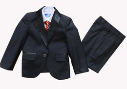 Wholesale Tie Vest Shirt Set - boy Tuxedo Suit Vest Shirts Tie or bow tie Wedding suits Dress 5 pcs set 10 sets lot
