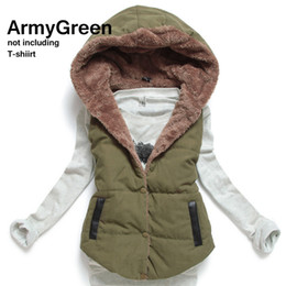 Wholesale women cotton gilet - Wholesale-Promotional Larger Size Women's Coral Fleece Coat 2016 Fashion All-match Cotton Patchwork Gilet Sleeveless Hooded Vest Winter