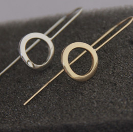 Wholesale Hoop Wire - 2015 Fashion Women Jewelry Fish Hook Wire Earring Hoop Round Coin Stud Earring Cute Accessories Gift