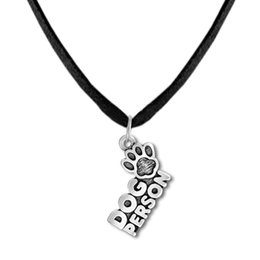 Wholesale Bear Paw Dog - Fitness Jewelry Zinc Alloy Antique Silver Floating Dog Person with Dog Paw Print Charms Animal Bear Pet Chain&Rope Pendant Necklaces