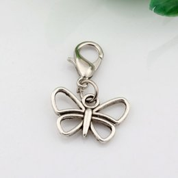 Wholesale Hollow Butterfly Charms - Hot ! 100Pcs Antique Silver Alloy Hollow Butterfly Charms Charms Bead with Lobster clasp Fit Charm Bracelet 16.5 x 25mm DIY Jewelry