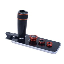 Wholesale Zoom Fishing - Wholesale-Apexel 4in1 12x black Zoom Telescopic Optical Lens & Macro & Wide angle Lens & Fish Eye Lens with clip for iphone