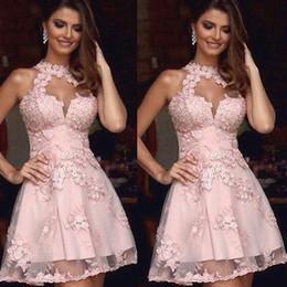 Wholesale Semi Sheer Formal Dress - Semi Formal Dresses Homecoming 2016 Illusion High Neck Pink Lace Homecoming Dresses Sheer Neck Short Prom Dress