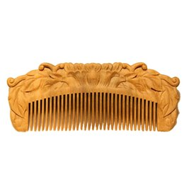 Wholesale Sandalwood Carvings - Mybasy 1PCS High Quality Handmade carved Green sandalwood Lotus shape wooden comb,Hair Care Scalp Massage anti-static wood hair brush
