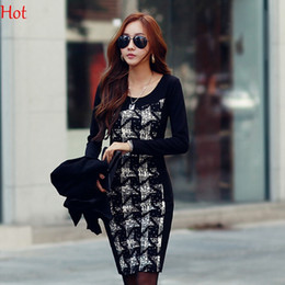 Wholesale Color Block Dresses Office - Autumn Womens Dress Elegant Color Block Patchwork Check Plaid Dresses Wear to Work Business Office Party Bodycon Dress Long Sleeve SV011754