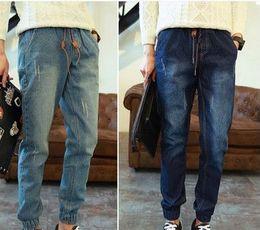 Wholesale Harem Jean Pants Men - Wholesale-Free shipping Men Jean Joggers Mens Fashion Denim Joggers Ankle Length Harem Pants Men Casual Sportswear Jogger jeans S01