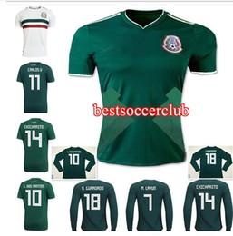 Wholesale R H - Camisa long sleeve Mexico soccer jersey 2018 CHICHARITO R MARQUEZ G DOS SANTOS H LOZANO world cup football shirt jersey camisetas de futbol