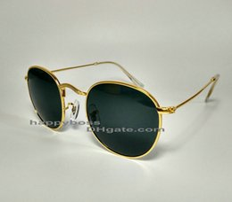 Goldene schutzbrille online-Neue Frauen-Designer-Sonnenbrille-Glaslinsen-runder Metallrahmen-goldene graue Wind-Schutzbrillen-Sonnenbrille Ausgezeichnete Qualität mit schwarzem / rotem Fall