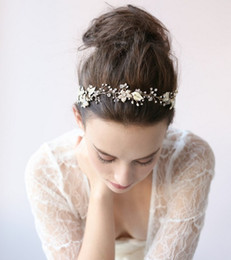 Wholesale Silver Bridal Hair Accessories - Pearl Crystal Hand Beaded Floral Wedding Bridal Hair Accessories Free Shipping Headwear Headbands 2017 Tie Backs