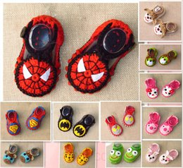 Wholesale Crochet Baby Girl Summer Shoes - Superman Spiderman Batman cat cartoon baby wool crochet toddler shoes Hand-woven girl Mary Jane shoes drop shipping 12pair 24pcs