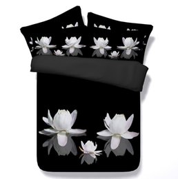 Wholesale Silk Quilt Comforter Black - Black and white bedding floral comforter set 3D lily duvet cover bed in a bag sheet quilt doona twin size queen super king linen brand
