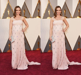Wholesale Emily Blunt Dresses - 2016 Emily Blunt The 88th Oscar Awards Blush Evening Dresses Spaghetti Straps Beads Crystal Formal Prom Party Gown Custom For Celebrity