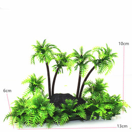 Wholesale Fish Tank Decorations Plastic Plants - 1Pc Green Artificial Plant Coconut Palm Trees Aquarium PLASTIC PLANTS Ornament Fish Tank Landscape Decoration Decor for large tank
