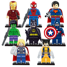 Wholesale Thor Iron Man Hulk - Super Heroes The Avengers 8pcs lot Iron Man Hulk Batman Wolverine Thor Building Blocks Sets Minifigure Bricks Toys