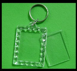 Wholesale Clear Blank Acrylic - ccessories Costumes Badge Wholesale ! DIY Acrylic Blank Photo Keychains Shaped Clear Key Chains Insert Photo Plastic Keyrings DHL Free s...