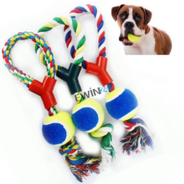Wholesale Large Rope Dog Toy - Large Dog Play Strong Rope Tennis Ball Throw Tugger Pet Puppy Playing Fetch Chew Bit Toys