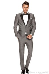 Wholesale Cheap Blazers Jackets - Wholesale-Blazers For Men Suits Custom Made Men's Fashion Wedding Morning Groom Gray Tuxedos Business Prom Cheap 3 Piece Jacket Pants tie