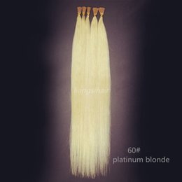 """Wholesale Brazilian I Tip Hair - 60# Platinum Blonde 15"""" 80g 18""""-26"""" 100g 100s Brazilian Indian Peruvian Malaysian Remy Human Hair Extensions I-tip Straight Style Hair"""