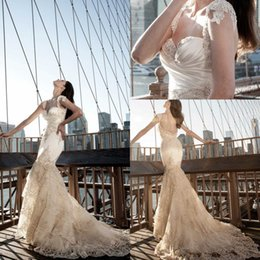 Discount sweetheart tier mermaid wedding dress - 2018 Designer Lace Mermaid Wedding Dresses Plus Size Sweetheart Straps Backless Bridal Gowns Beaded Appliques Vestido de Noiva Sereia