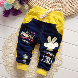 Wholesale Trousers Designs For Girls - Wholesale-Hot Sale autumn baby harem pants for boys full length jeans cotton trousers big Letter spliced design brand quality HST1441